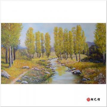 韩成《白桦林》朝鲜油画风景