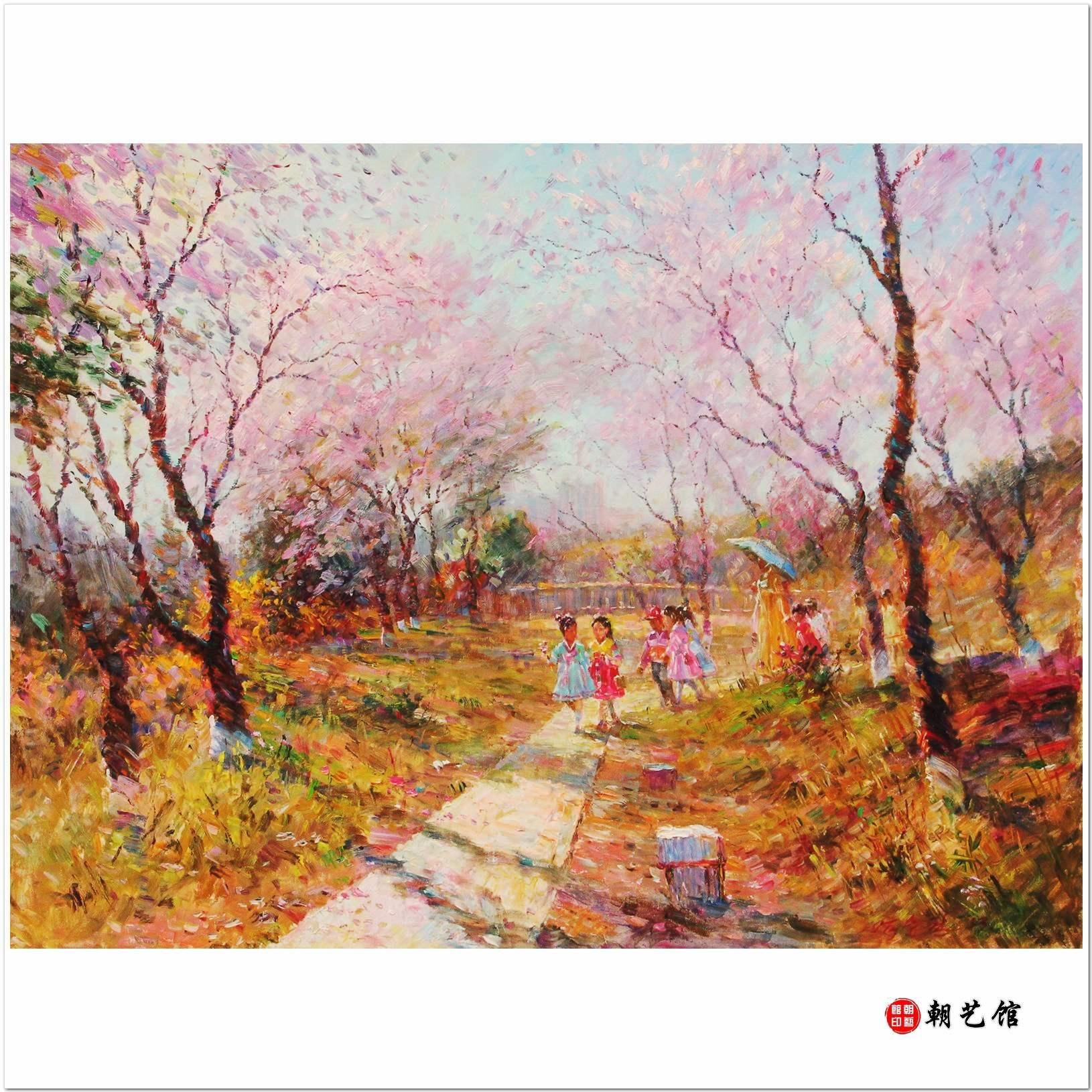 严胜权《春》朝鲜油画风景
