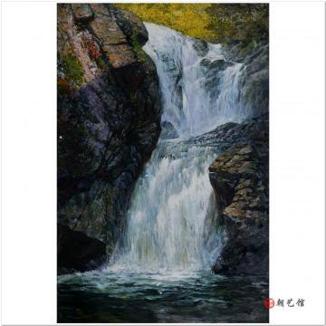 李成山《瀑布》朝鲜油画风景-xa3