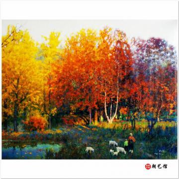 郑英华《秋》朝鲜油画风景