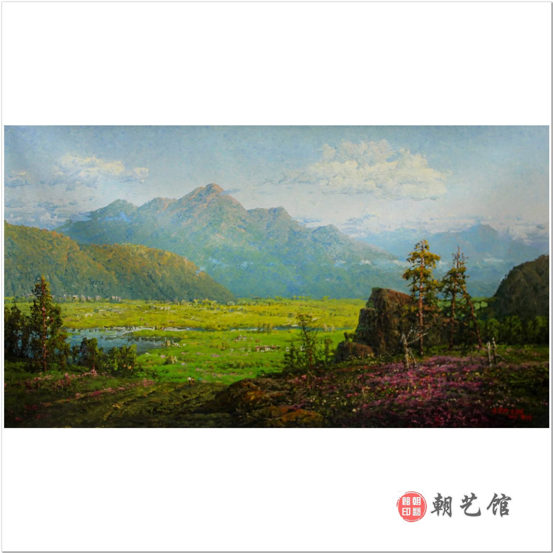 金昌盛《金刚山温井里》朝鲜油画风景