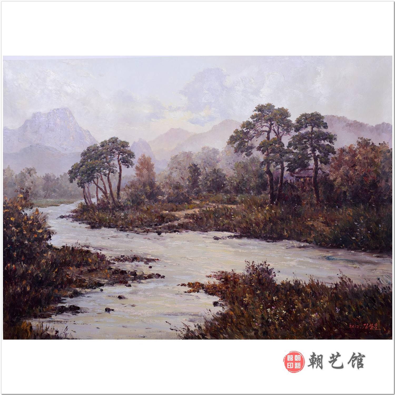 朝鲜画朝艺馆_金相勋《小溪》朝鲜油画风景_风景油画