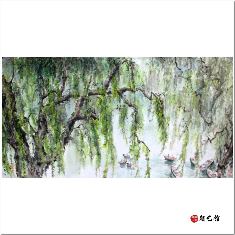 文华春《柳树下的小船》朝鲜国画风景-jdzx