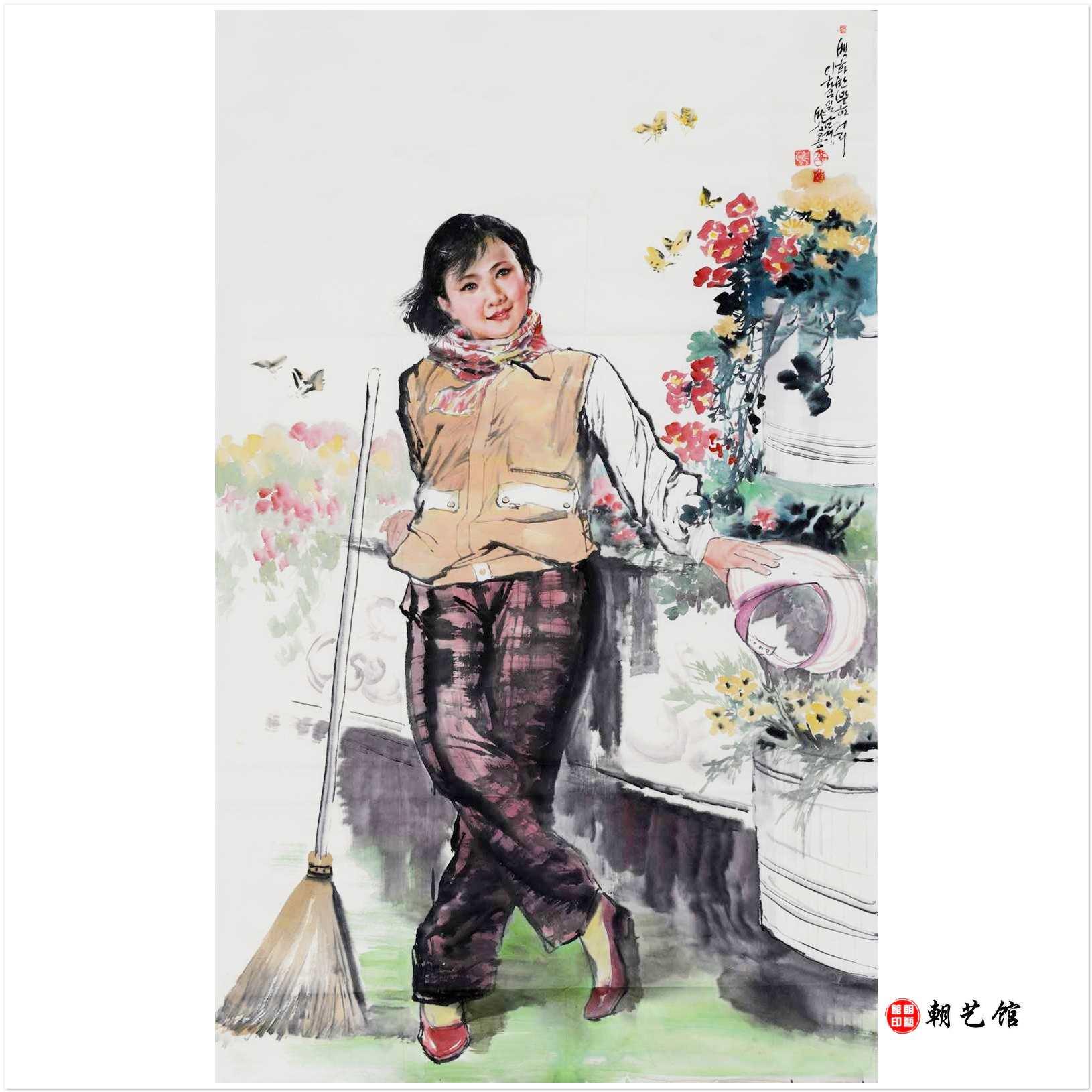 朴昌龙《春天》 朝鲜国画人物